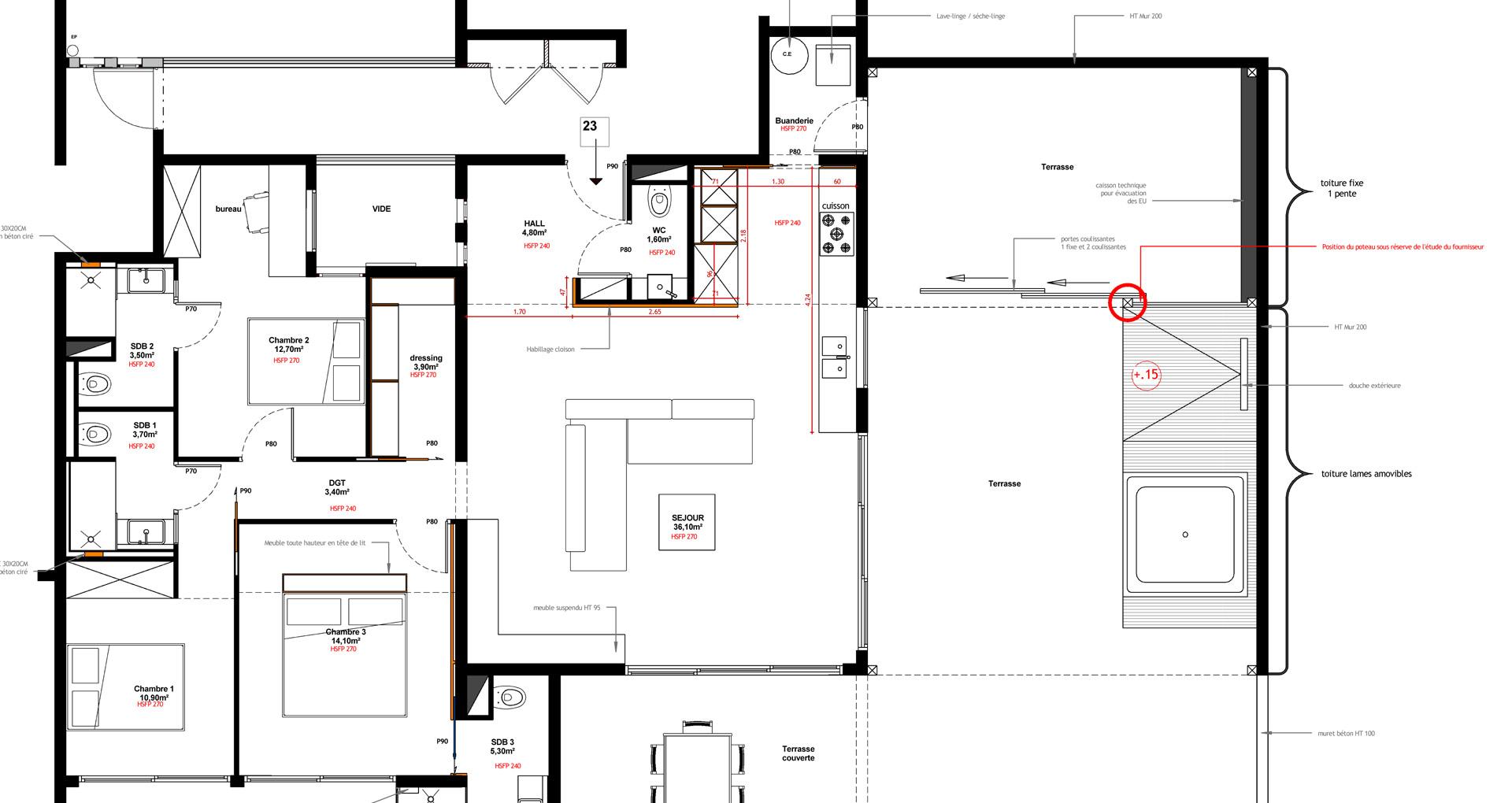 Plan, projet architecture Martinique